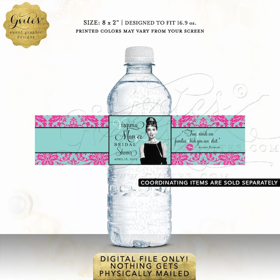 Bridal Water Bottle Label Audrey Party Favors | Digital JPG + PDF By Gvites