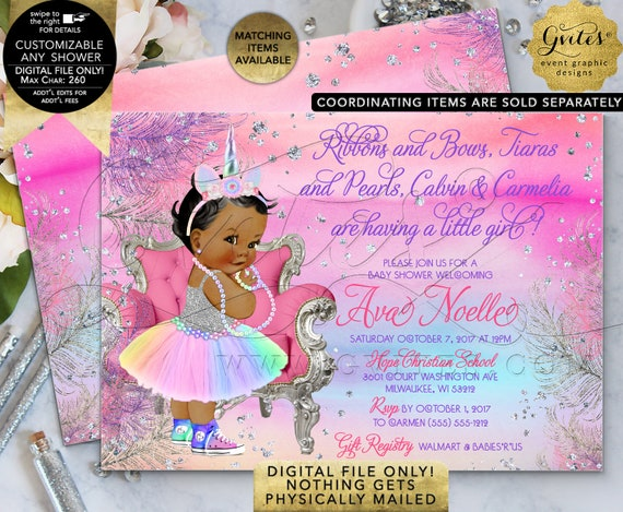 """African American Unicorn Baby Shower Invitation Printable Digital File Only 