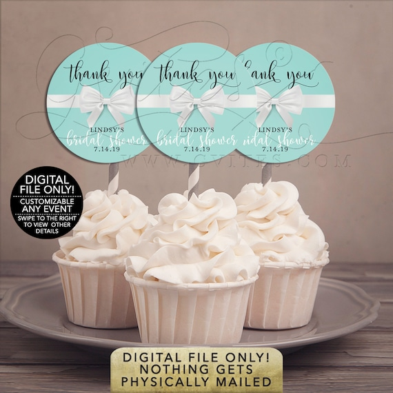 "Cupcake Toppers Bridal Shower Food Table Decorations | Printable JPG & PDF 2x2""/ 12 Per Sheet 