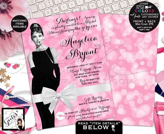 Audrey Hepburn Bridal Shower Invitations /  Pink White Bow Black Dress Party Invites / Breakfast at Theme Wedding Shower Brunch