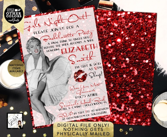 Marilyn Monroe Bachelorette Invitation / Vintage Girls Night Out Bachelorette Party / Red Glitter Old Hollywood