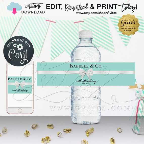 "25th Birthday Water Bottle Labels, Isabelle & Co Stickers breakfast at blue. Edit TODAY W/Corjl.  8.5x2""/4 Per Sheet"