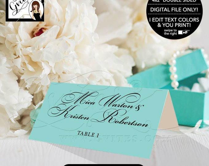 """Double sided place cards, digital tent cards, guest cards, wedding place cards, escort cards, blue themed food cards, printable 4x2"""""""