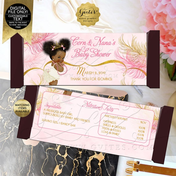 "Pink and Gold Candy Bar Wrappers Baby Shower/ African American Princess/ Gold Feathers Ivory.  5.25 x 5.75""/ 2 Per Sheet"