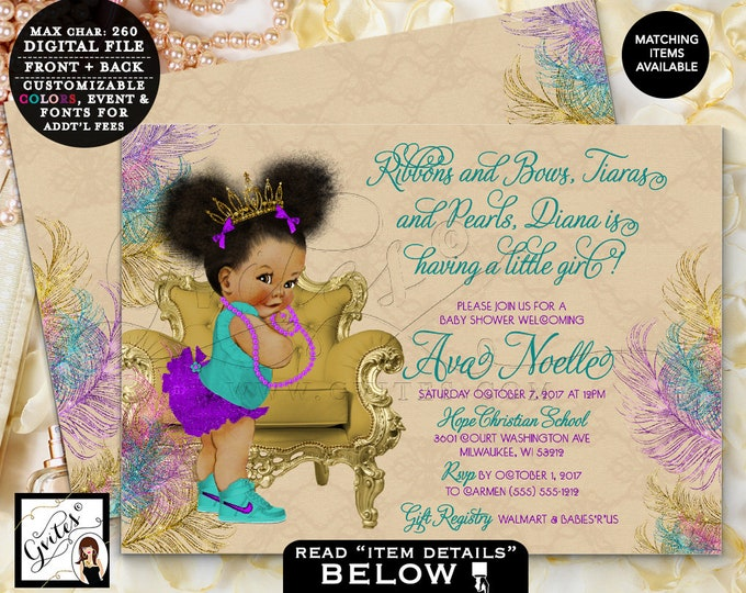 """Teal Purple and Gold Baby Shower Invitation, Afro Puffs Princess Gold Tiara, Peacock Beige, Printable Double Sided, 7x5"""" Gvites"""