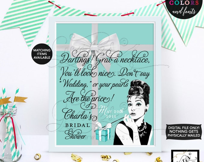 Custom Audrey Hepburn Pearl Necklace poster sign,  Bridal Shower Games decor, breakfast at, and co blue theme, 8x10 CUSTOMIZABLE