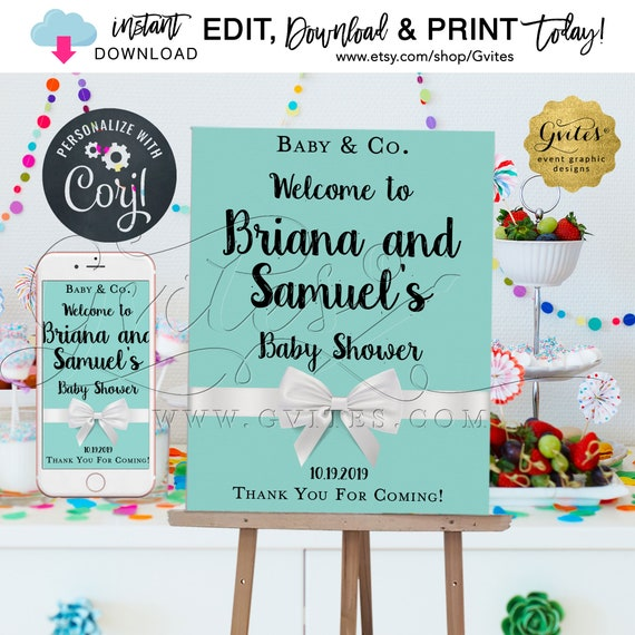 "Welcome Baby & Co Printable Poster Editable Template. Blue Breakfast Party Theme Decor. {Size: 18x24""}"