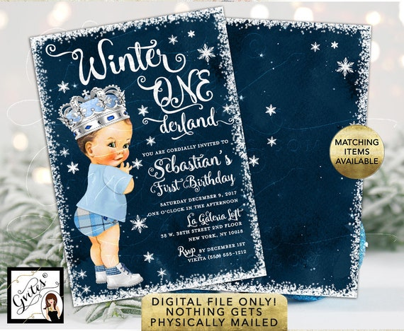 Winter One/Wonderland Birthday Invitation Boy/ Ice Blue Prince Vintage Baby/ Blue Pants Plaid with Boots. Double Sided Printable 5x7""