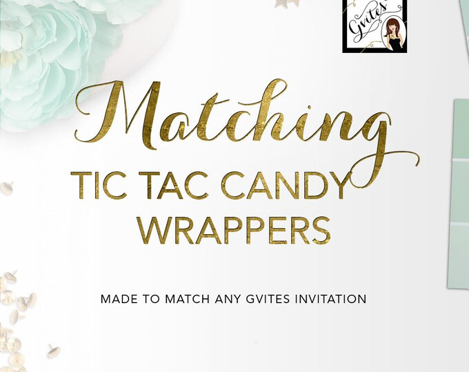 Matching Labels - Tic Tac Candy Labels Add-on - To coordinate with any Gvites invitation design.