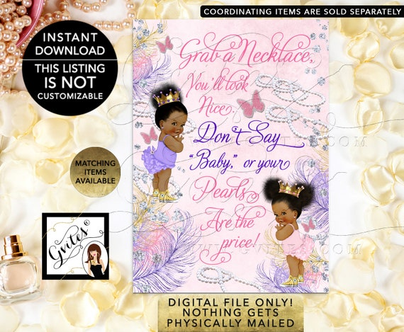 """Pearl Game Don't Say Baby, Twins Birthday Game, Pink Gold Purple Lavender Digital File! 5x7"""" JPG + PDF {Instant Download}"""