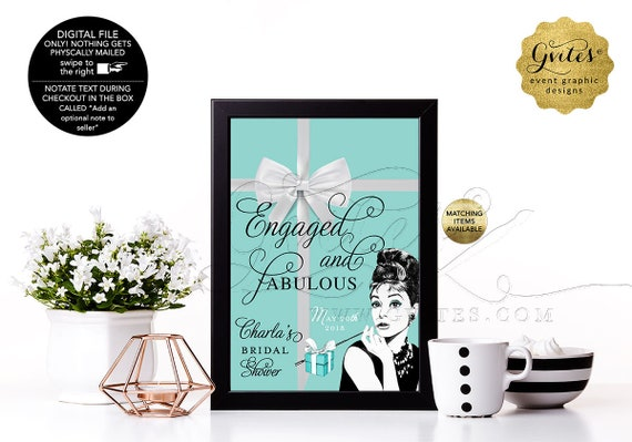 Bridal Shower Audrey Hepburn Party Signs, Thank You, Breakfast at, wedding table decorations. {4x6 or 5x7}. Gvites