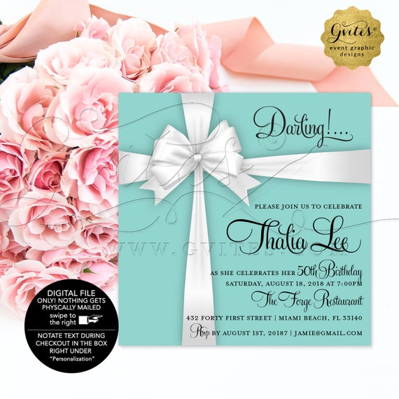 "Blue 40th Birthday Printable Invitation | Breakfast/Little Black Dress/Diamonds Pearls/Adult Woman Elegant Invites. Digital/JPG + PDF 5x5"""
