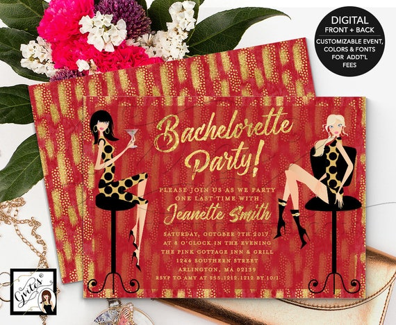 Christmas Bachelorette Party Invitation Printable/ Holiday Theme/ Fashion Designer/ Red Gold Glitter/ Couture Invitations 7x5""