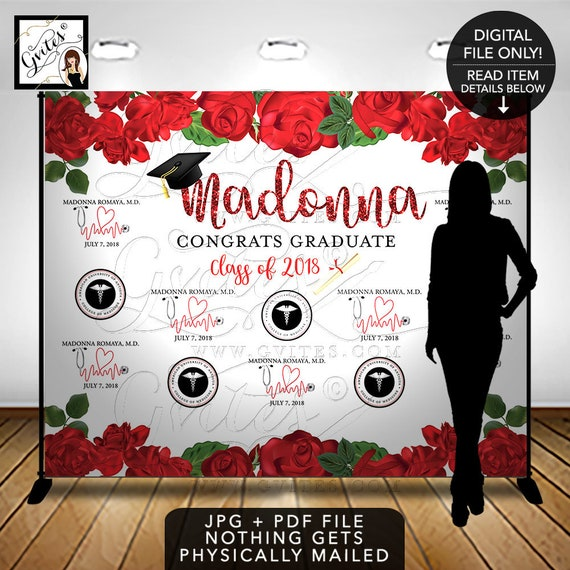 Graduation Step & Repeat Backdrop/ Congrats Graduate/ Law Med School Graduate/ Cap and Gown Black Red Printable Sign Poster