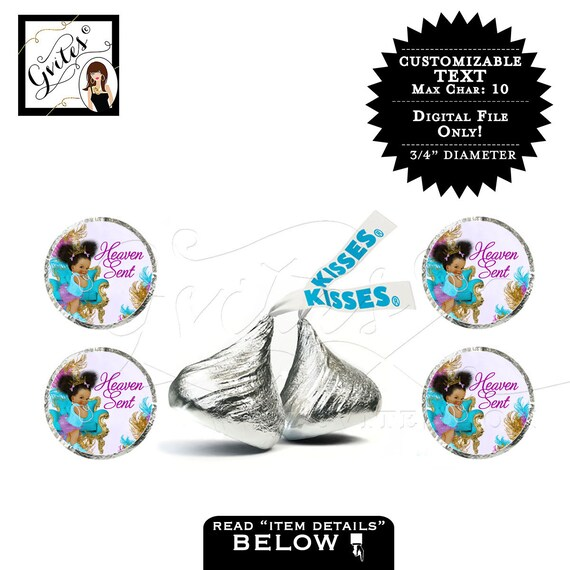 Hershey kiss sticker labels purple gold silver princess baby shower. Designed For Avery® 41568 {TIACH-105}
