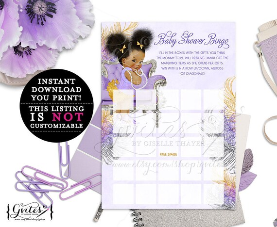 African American bingo cards/ lavender purple gold and silver/ ethnic baby bingo card/ diamonds pearls/ instant download/ 5x7 2-Per Sheet
