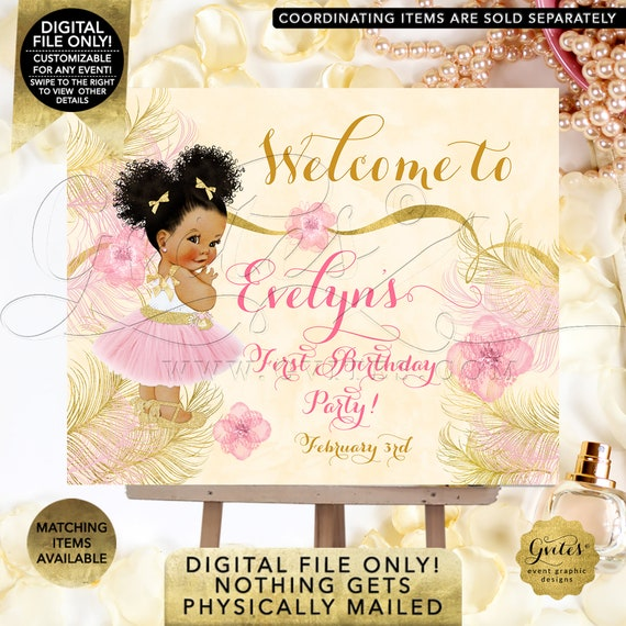 Welcome First Birthday Party Sign Blush Pink Ivory Gold Ballerina Pink Gold Ethnic Girl | Printable Digital File Only! JPG + PDF Format
