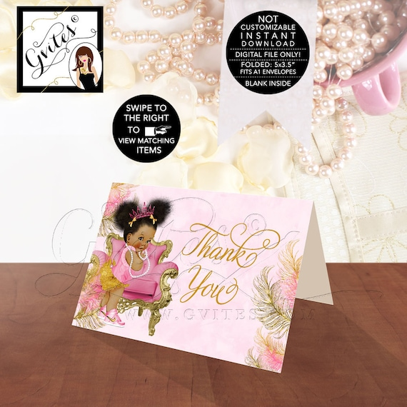 Thank You Cards Pink Gold Baby Shower {Design: TIACH-110} By Gvites