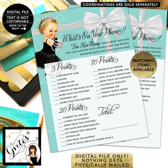 """Whats on your phone baby shower game. Printable cards. 5x7""""/2 Per Sheet {INSTANT DOWNLOAD/Baby: Light Blonde}"""