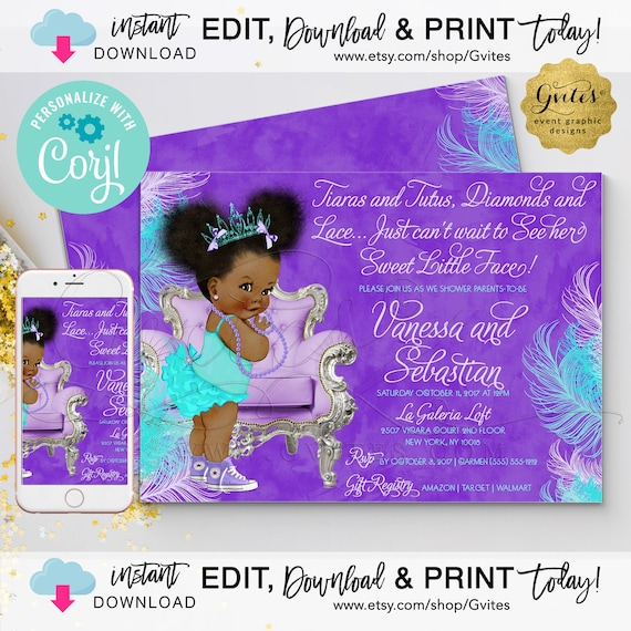 "Afro Puff Princess Lavender & Turquoise | Tiaras Tutus Diamond Lace 7x5"" Double Sided {Personalized with Corjl}"