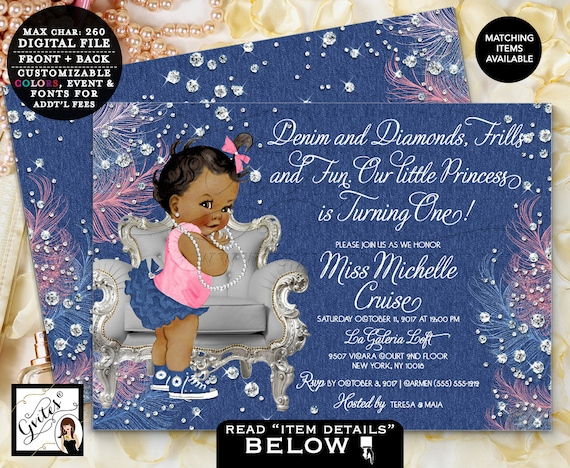 "Vintage Baby Girl, Denim and Diamonds First Birthday Invitation, Blue silver and pink, Printable Invites, Digital 7x5"" Double Sided Gvites"