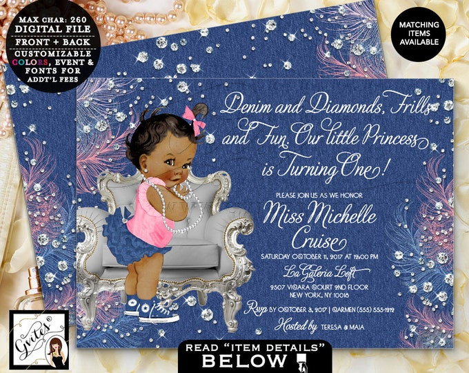 "Denim and Diamonds First Birthday Invitation, Vintage Baby Girl, Blue silver and pink, Printable Invites, Digital, 7x5"" Double Sided Gvites"