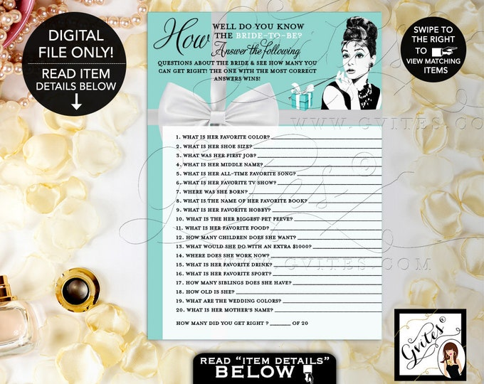 "How Well Do You Know the Bride-To-Be, Audrey Hepburn Printable Games, Bridal Shower Games, Breakfast at co themed, Digital, 5x7"" 2/Pe Sheet"