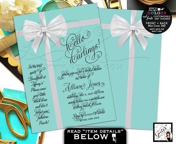 "Bridal Shower Blue Themed Invites, 5x7"" Double Sided."