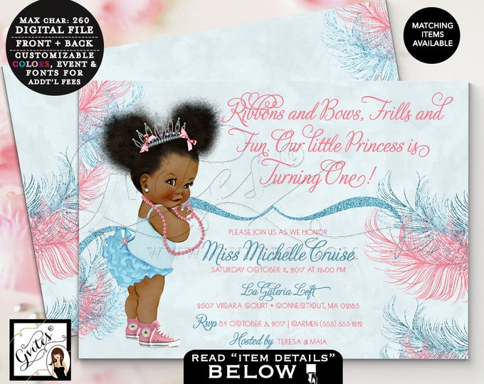 Pink and Blue First Birthday African American princess invitation, tiaras bows, diamonds pearls, 7x5 double sided. Afro Puffs. Gvites