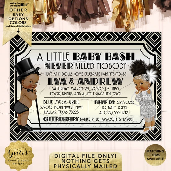 """African American Gender Reveal Gatsby Theme Baby Shower Invitation 