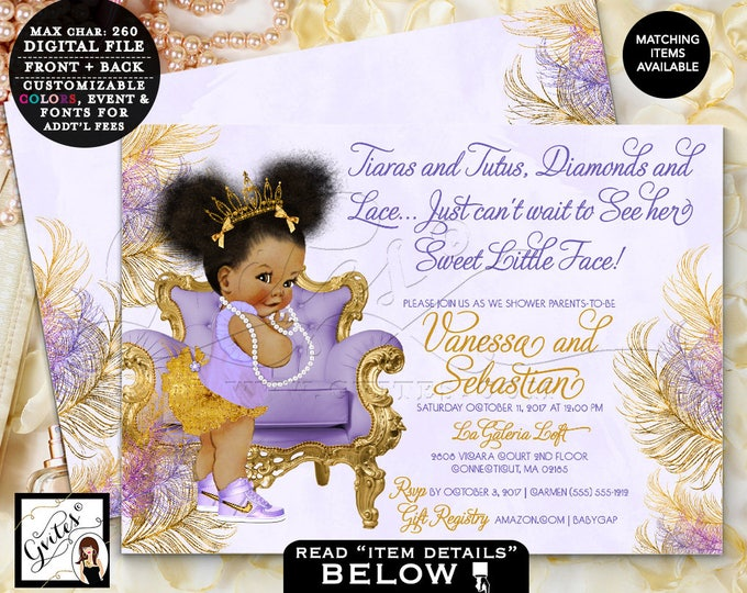 "Purple and Gold baby shower lavender silver invitations Afro Puffs ethnic princess tiaras tutus diamonds, Double Sided 7x5"" Gvites TIAPAC4GG"