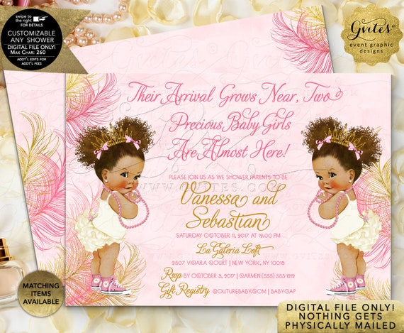 Twins Baby Shower Invitation Pink Gold Princess African American Girl Afro Puffs Curly Hair | JPG + PDF {Design: TWACE-104} By Gvites