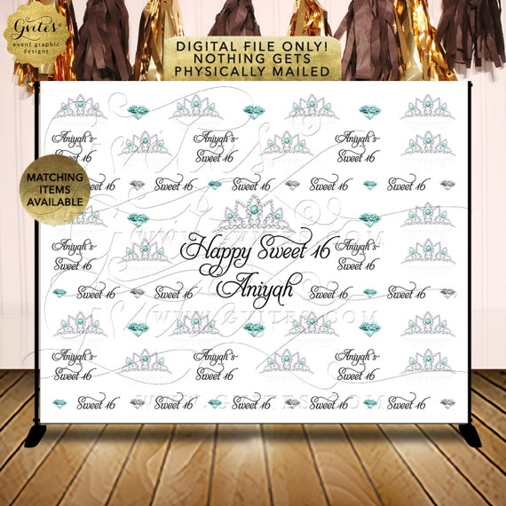 Sweet 16 Birthday Party Printable Step & Repeat Backdrop | JPG + PDF By Gvites