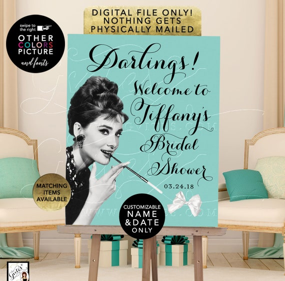 Welcome Darlings Audrey Hepburn, Personalized Bridal Shower Poster Signs. Printable File Only! JPG + PDF.