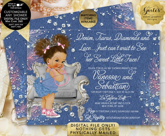 Princess Baby Shower Denim Tiaras Diamonds and Pearls/ 7x5 Double Sided/ Afro Puffs African American Gvites/ Printable/ Digital/ JPG/ PDF