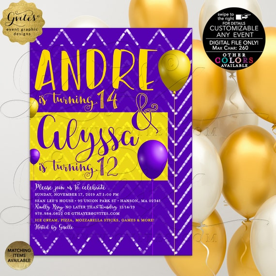 Brother & Sister Birthday Invitation \ Coed Birthday Party Printable Invites \ Purple and Mustard Yellow \ Personalized Custom Designs 5x7""