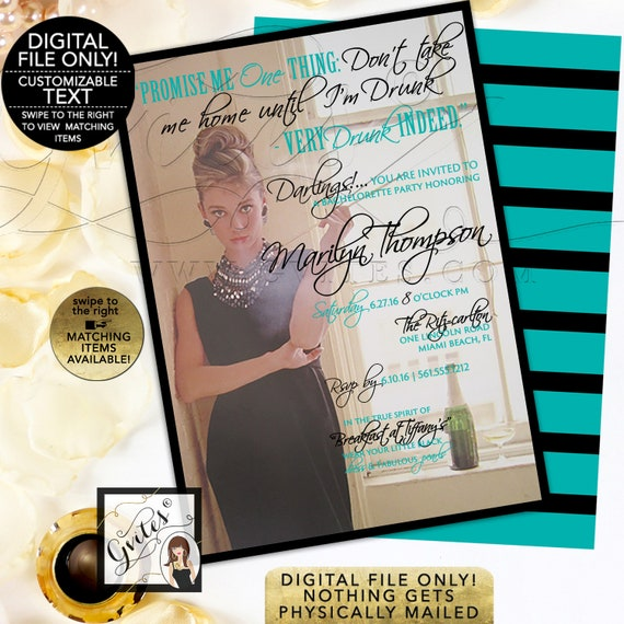 """Breakfast at Tiffany's Bachelorette Party - Audrey Hepburn Custom Invitations. Digital File Only! 5x7"""" Double Sided."""