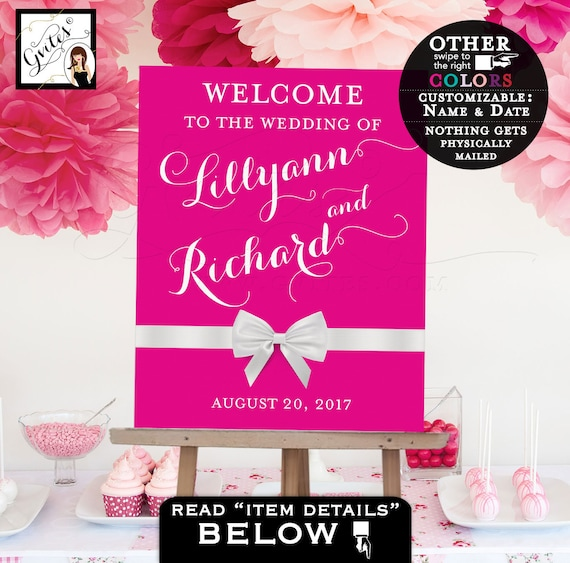 Welcome sign wedding/ Welcome to our wedding sign/ pink and white/ table backdrops/ centerpiece poster sign/ PRINTABLE Customizable colors