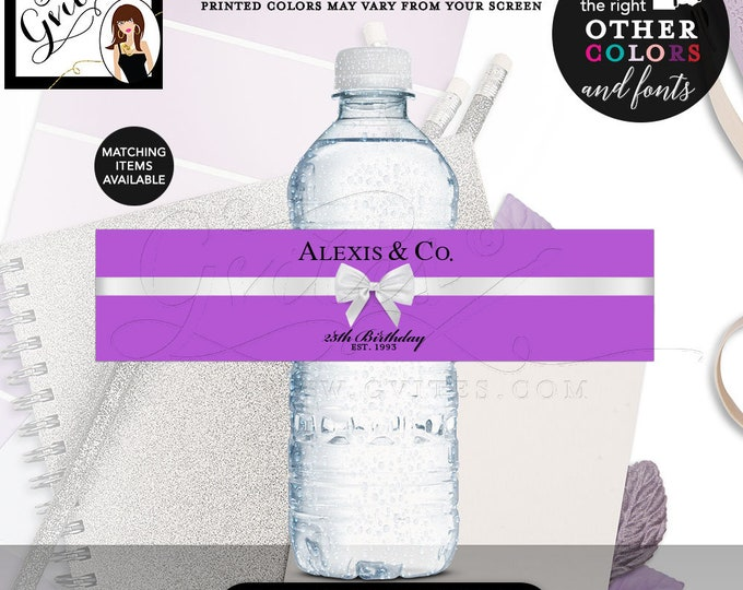 """Purple Water Bottle Labels 25th Birthday Water Bottle Labels and Co Stickers breakfast at 8x2""""/5 Per Sheet Digital File Only!"""