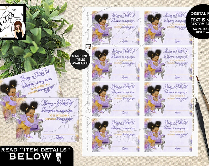"""Diaper raffle tickets, lavender gold purple & silver, ethnic baby girl, raffle ticket games. PRINTABLE Instant Download 3.5x2.5"""" 8/Sheet."""