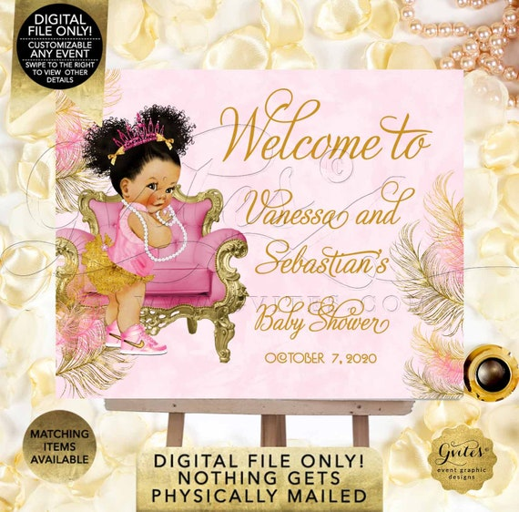 Pink & Gold Welcome Sign | Med Puffs Curly Vintage Baby Girl Afro Princess Decorations| African American Poster {TIACH-110}