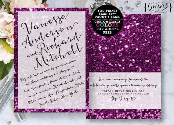 Purple Glitter wedding invitation purple and white invites, modern style, bling bling, digital file.
