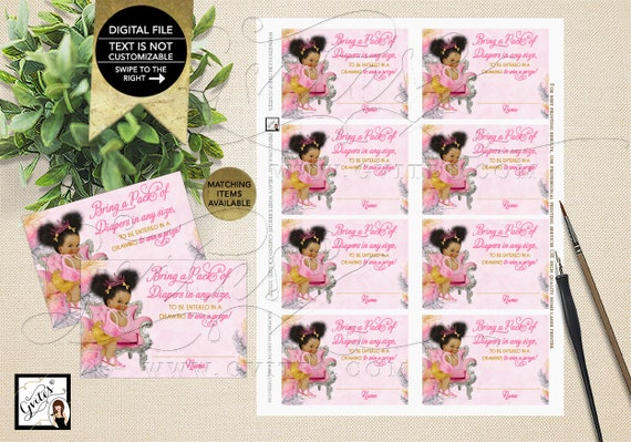 "Afro Puffs Theme Tickets Pink Gold Silver/ Diaper Raffle/ African American/ Shower Inserts/ Games/ 3.5x2.5"" 8 Sheet{Instant Download}"