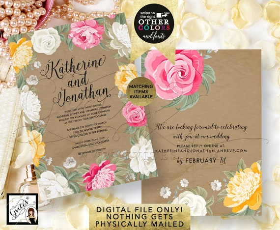 Peony Wedding Invitation | Pink Ivory Kraft Watercolor Floral/Yellow/White Rustic/Shabby Chic
