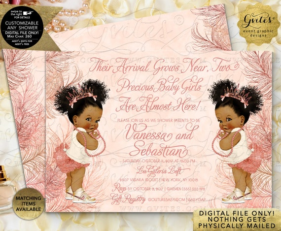 Rose Gold Invitation Princess African American Baby Shower Twin Girls | Digital File Only! JPG + PDF By Gvites