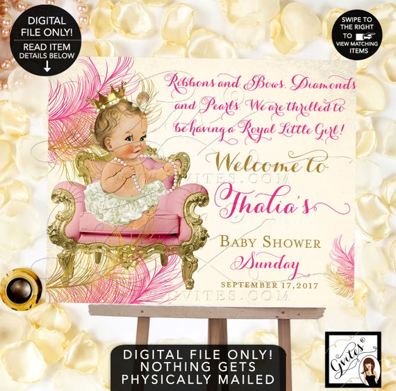 Pink and Gold baby shower WELCOME SIGN, princess baby shower, royal pink vintage ribbons bows, diamonds  pearls. Gvites. Digital File Only!