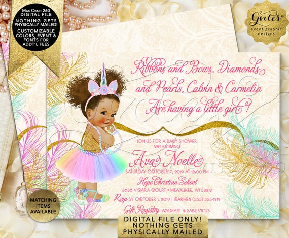"""Unicorn Princess Baby Shower Invitation 