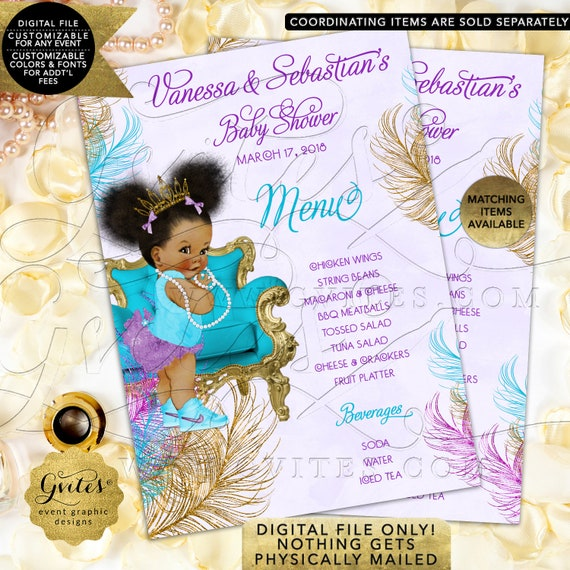 Baby Shower Menu Cards Turquoise Purple Lavender Gold African American Girl Vintage Diamonds Pearls | JPG + PDF Design: TIACH-105 By Gvites