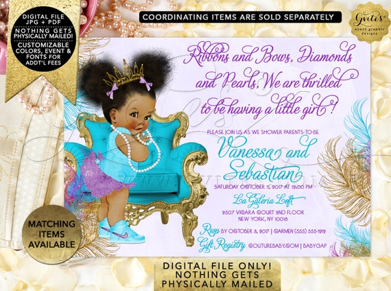 Turquoise Purple Gold Baby Shower Invitation | African American girl tiara princess ribbons bows diamonds pearls {TIACH-105}