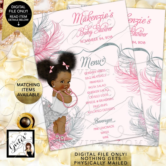 Menu Cards Baby Pink and Silver Baby Shower, Afro Puffs Vintage African American Baby Girl. Printable, Digital File Only!